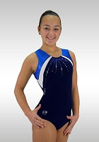 Leotard K720 Sleeveless dark blue Velvet metallic blue Wetlook Glitter