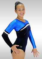Leotard K784 long sleeve dark blue velvet blue wetlook