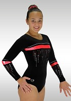 Long Sleeved Leotard black red velvet glitter K786