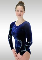 Leotard Long Sleeve Blue Velvet K807 Glitter