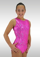 Leotard sleeveless pink wetlook silver glitter V755