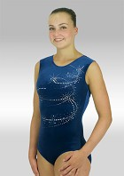 Sleeveless Leotard blue velvet V584