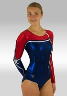 Leotard Long Sleeves Blue Red Silver Wetlook Glitter Sequins and Rhinestones V517